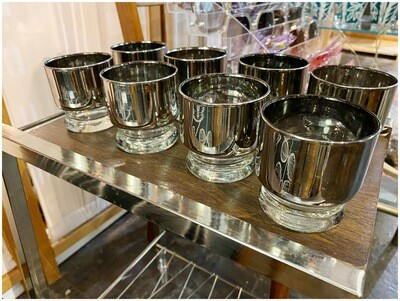 Mid Century Set of Thick Silver Rimmed Whiskey Glasses