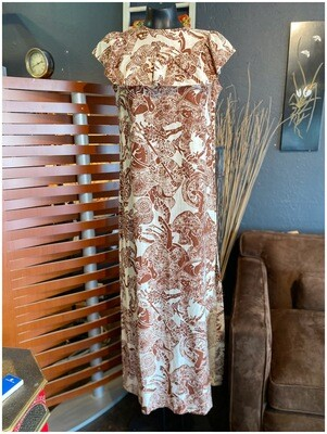 Vintage 1970's US Made Sleeveless Print Maxi Dress