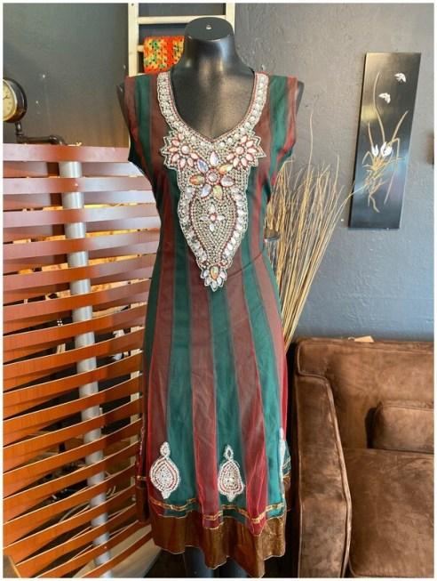 Modern Rhinestone Embellished Neck & Bodice Dress