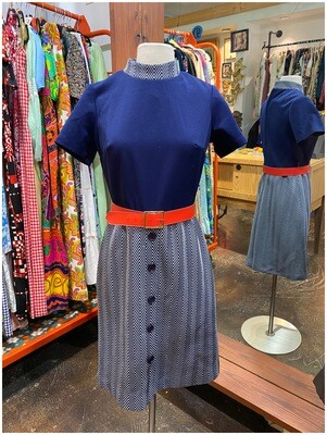Vintage Two Piece Dress with Mock Neck & Red Belt
