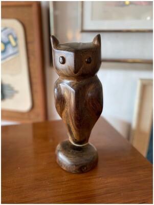 Vintage Solid Wood Owl Figurine