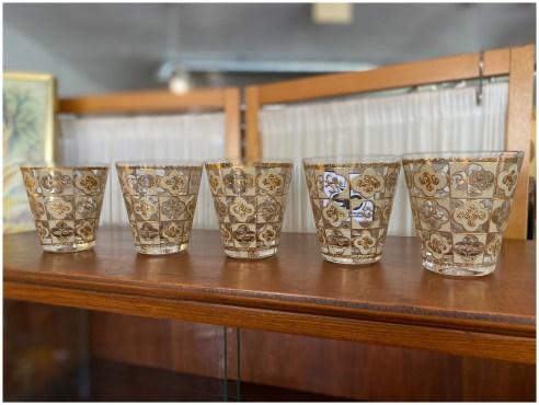 Mid Century Gold & Cream Glasses