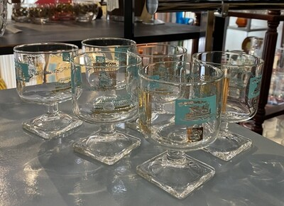 Vintage Steamboat Glasses with Square Base