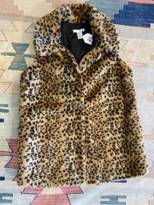 Modern Leopard Faux Fur Sleeveless Vest