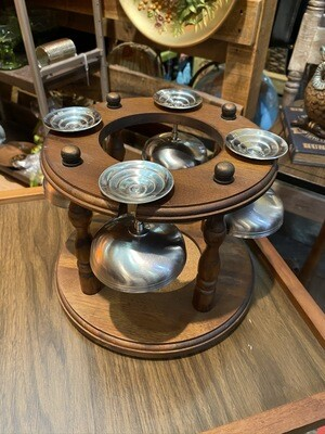Vintage Circular Wood Wine Holder