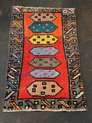 Vintage Handmade Small Turkish Rug