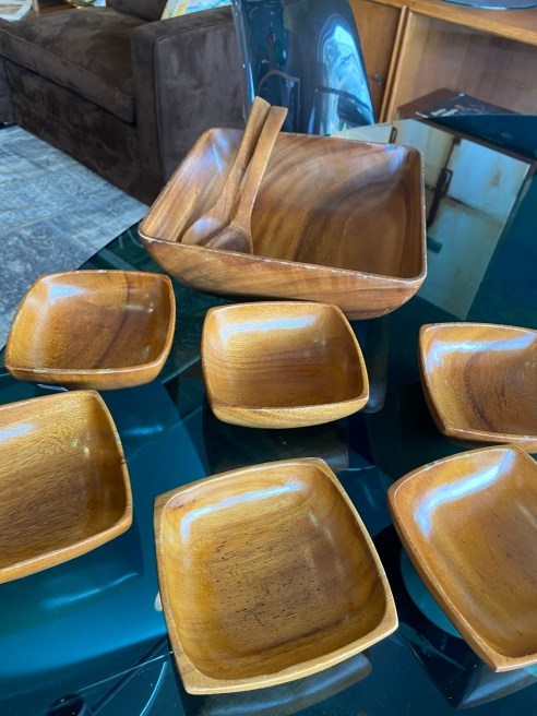 Vintage Set of Teak Bowls