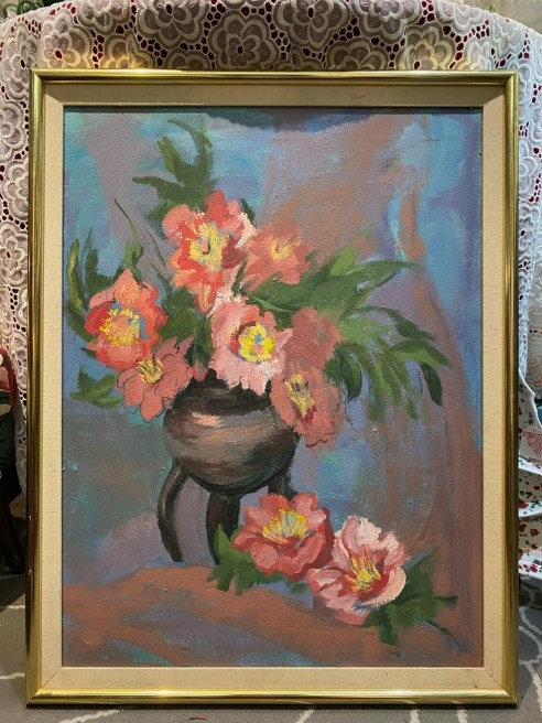 Vintage Pink Floral Original Painting