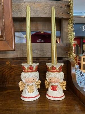 Vintage 1970's Homco Angel Candle Holders