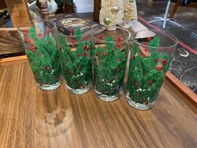 Vintage Christmas Mistletoe Glasses