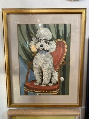 Mid Century Framed Textured Paint by Numbers Poodle