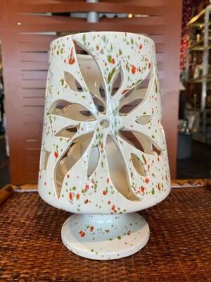 Vintage Christmas Ceramic Speckled Candle Lantern