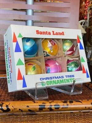 Vintage 1970's Santa Land Ornaments