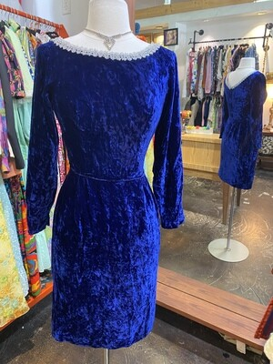 Vintage Blue Velvet Evening Dress