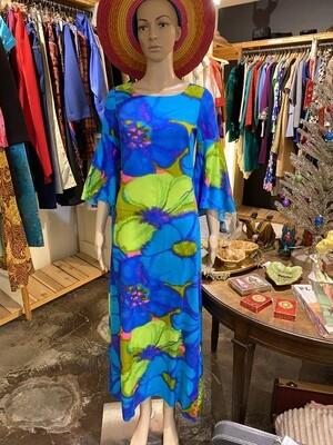 Vintage 1960's Kiyomi of Hawaii Caftan with Bell Sleeves