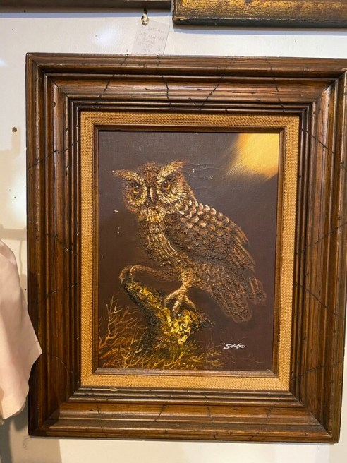 Vintage Signed Owl Painting