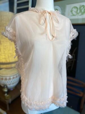 Vintage Ruffled Pink Nylon Bed Jacket