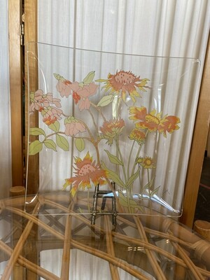 Mid Century Modern Dorothy Thorpe Square Glass Floral Plate
