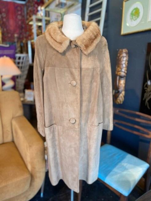 Vintage 1960's Suede Coat with Mink Collar