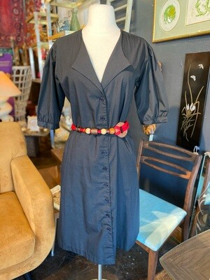 Vintage 1980's Cotton Dress with Pockets and Belts