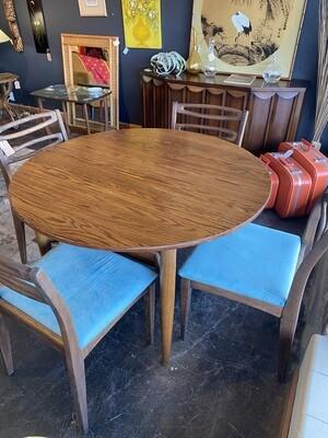 Mid Century Modern Walnut Round Dining Table