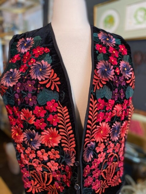 Modern Black Velvet Embroidered Vest