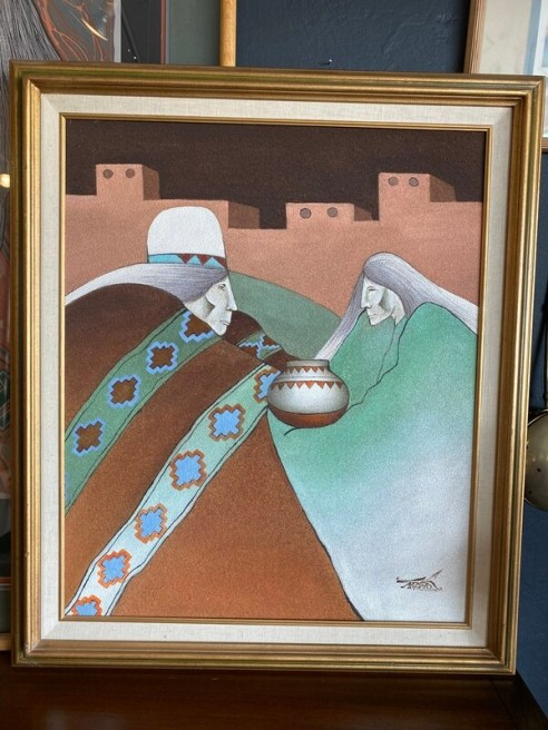 Vintage 1980's Myung Mario Jung Sand Painting Canvas Southwest Original & Signed