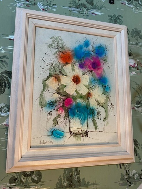 Mid Century Modern Signed Floral Painting