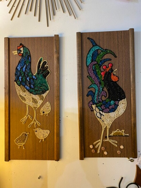 Mid Century Modern Pebble Art Rooster & Chickens