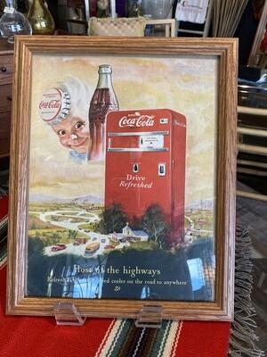 Vintage 1950's Coca Cola Host of the Highways Framed Ad