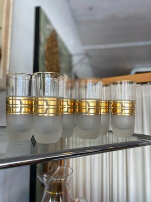 Mid Century Set of Frosted & Gold Highball Glasses