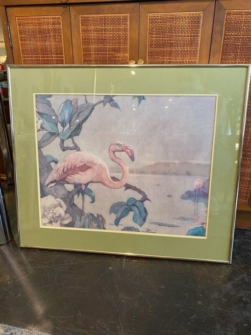Vintage Framed Flamingo Print
