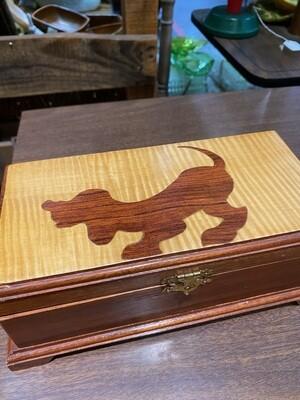 Vintage Maple & Walnut Dog Inlay Box