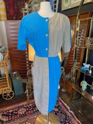 Vintage 1980's Just Tylor Color Block Dress