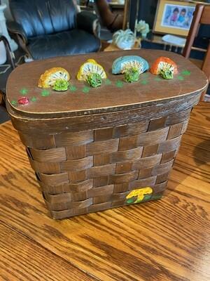 Vintage 1960's Handmade Mushroom Wood Box Handbag