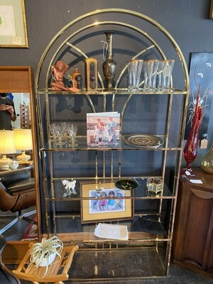 Mid Century Modern Gold Chrome & Glass Shelve Etagere