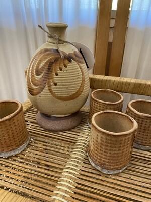 Vintage Handmade Pottery Sake Set