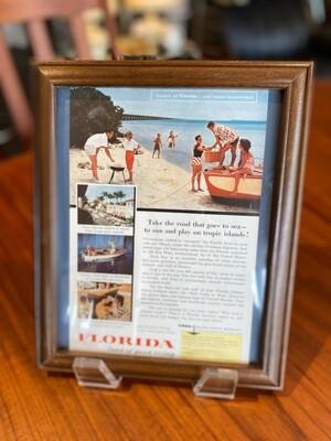 Vintage Framed Florida Travel Ad