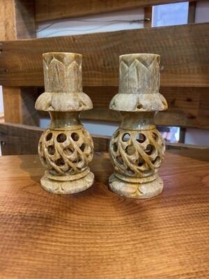 Vintage Onyx Elephant Candle Holders