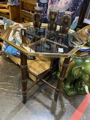 Vintage Wood Rattan Base with Brass & Glass Top Side Table