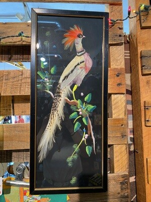 Vintage 1970's Mexican Feather Bird Art