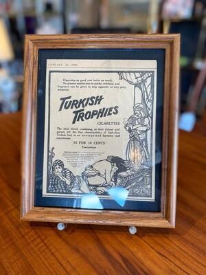 Vintage 1906 Turkish Trophies Cigarette Framed Ad