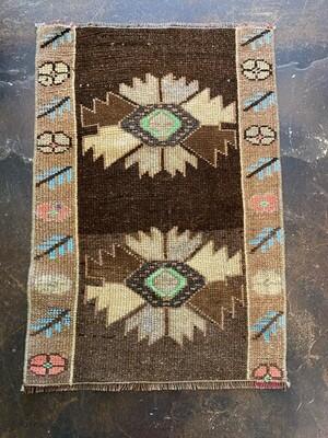 Vintage Handmade Yastic Rug from Turkey - Browns, Blue, Pinks & Greens