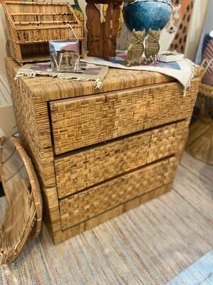 Vintage Boho Wicker Dresser