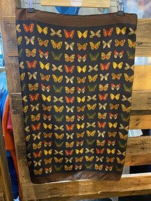 Vintage Authentic Gucci Butterfly Silk Scarf