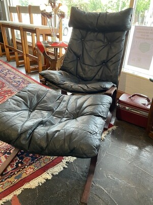 Mid Century Modern Westnofa High Back Rosewood Lounge Chair with Ottoman