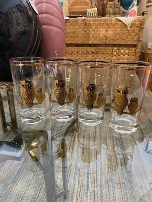 Mid Century Modern Culver Set of Owl Glasses
