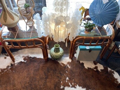 Vintage Pair of Rattan Glass Top End Tables