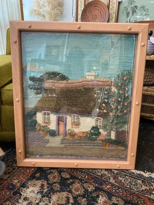 Vintage Jerry Kinsley Hand Woven Rug Framed Art