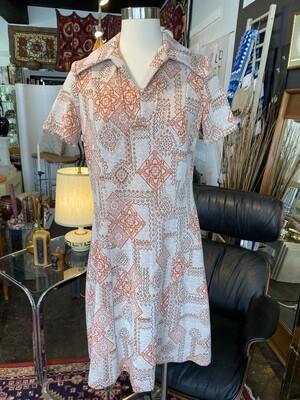 Vintage 1970's Geometric Midi Dress